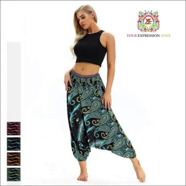 Yellow/Purple/Blue Boho Hippie Pants - Your Expression Zone