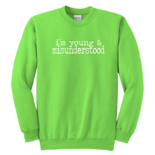 Load image into Gallery viewer, Young & Misunderstood Youth Crewneck Sweatshirt
