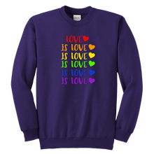 Load image into Gallery viewer, Love is Love Youth Crewneck Sweatshirt
