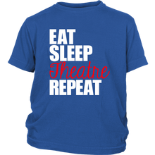 Load image into Gallery viewer, Eat Sleep Theatre Repeat Youth T-shirt