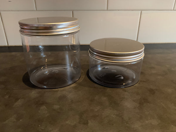 250ml PET Clear Container With Silver Lid x10