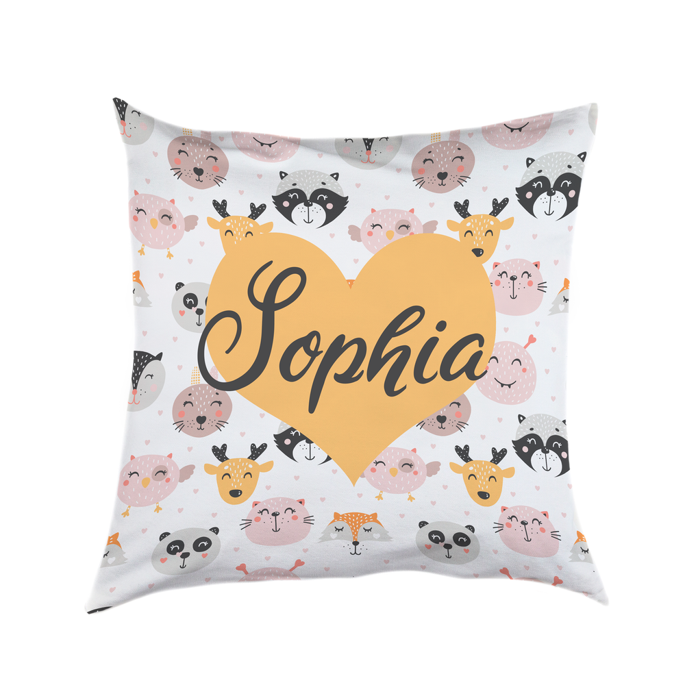 Personalised Animal and Hearts Cushion Cover