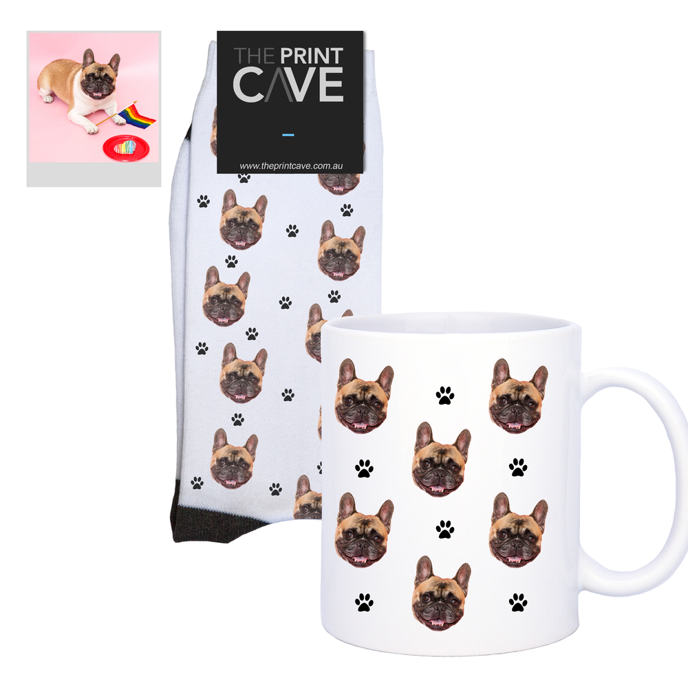 Pet Face Socks and Mug With Paw Design