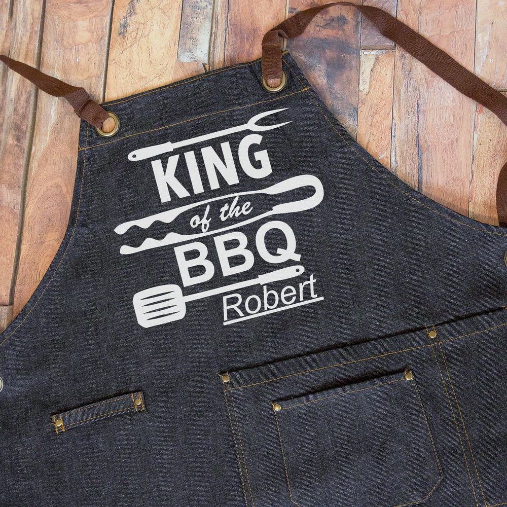 King Of The BBQ Denim Apron