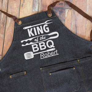 Load image into Gallery viewer, King Of The BBQ Denim Apron