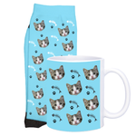 Cat Face Socks and Mug With Fish Skeleton Design
