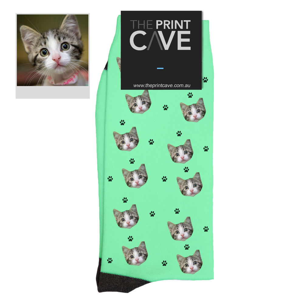"Custom Pet Face Socks ""Cat Paw"""