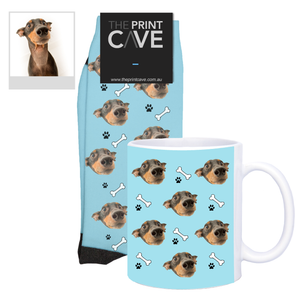 Load image into Gallery viewer, Pet Face Socks and Mug With Bone Design