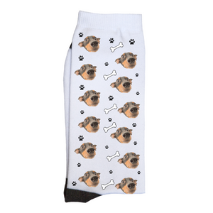 Custom Dog & Bone Face Socks