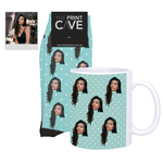 Face Socks and Mug Set With Polka Dots Design
