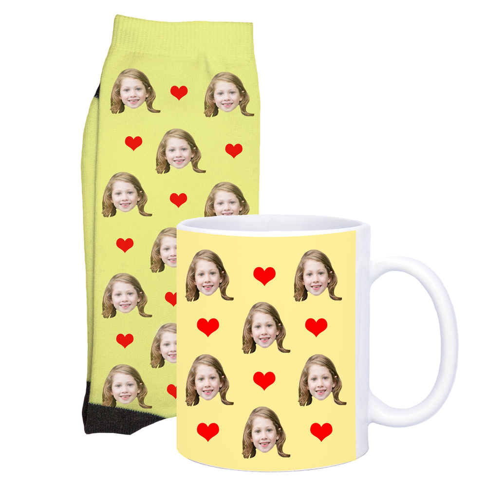 Face Socks and Mug Set With Hearts Design