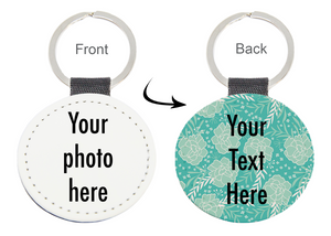 Photo and Text Personalised Keychain Green