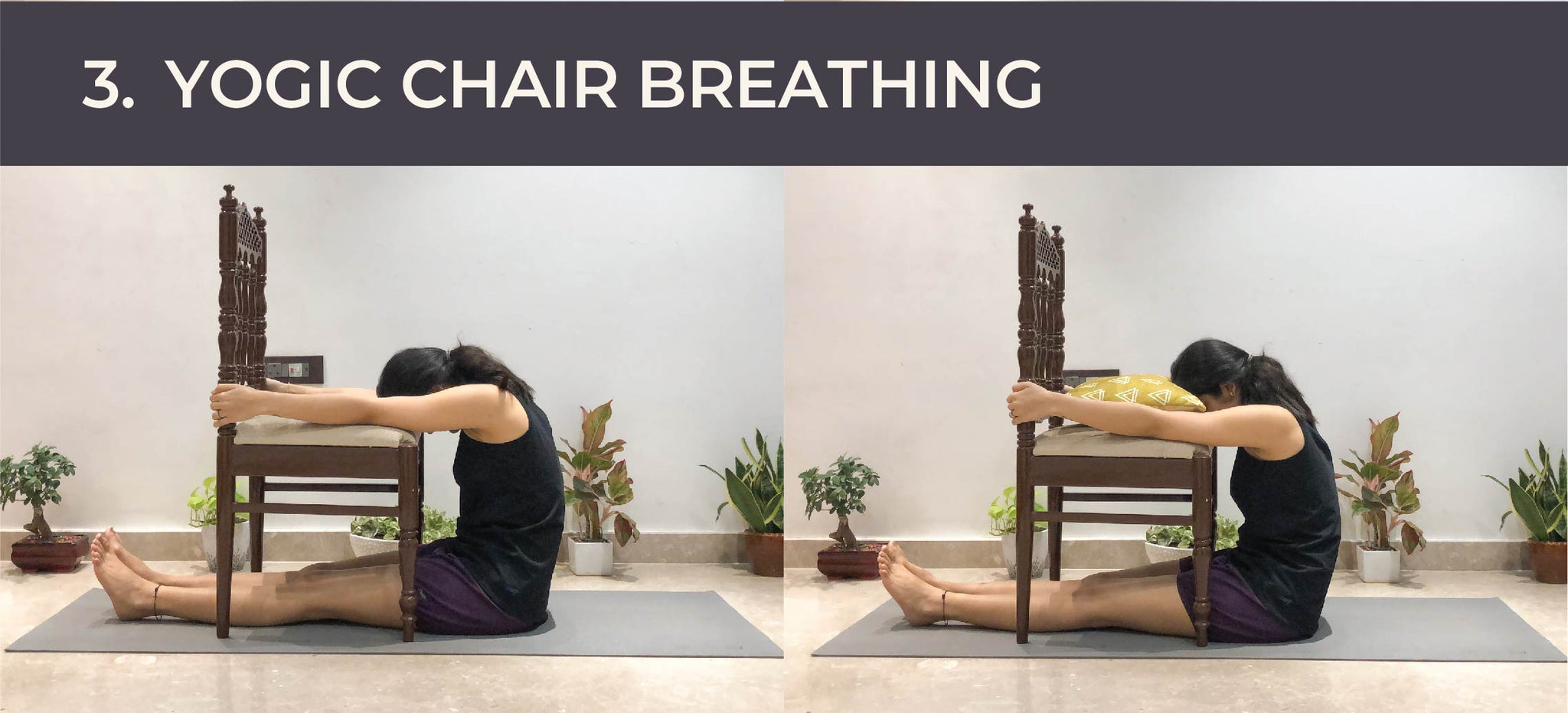 Yogic chair breathing for stress relief