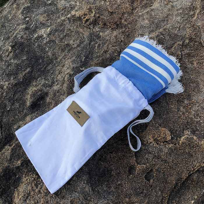 Blue Bamboo Yoga Towel with Cotton Drawstring Pouch