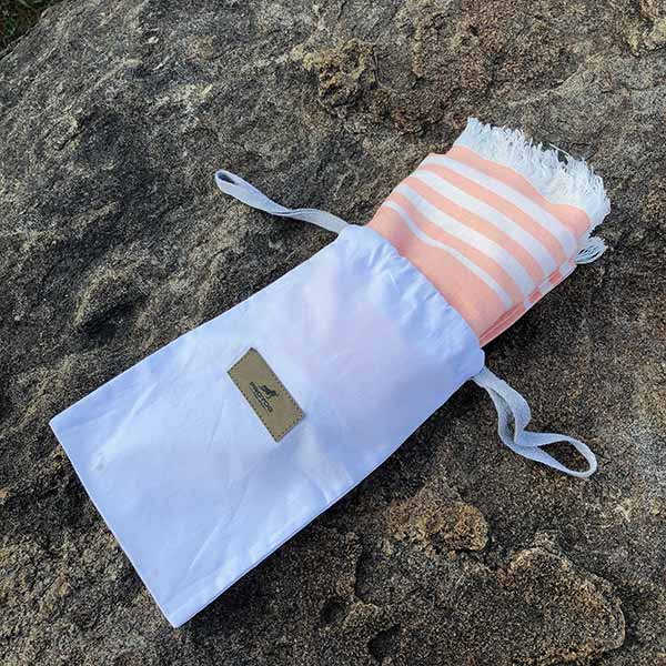Apricot Bamboo Yoga Towel with Cotton Drawstring Pouch