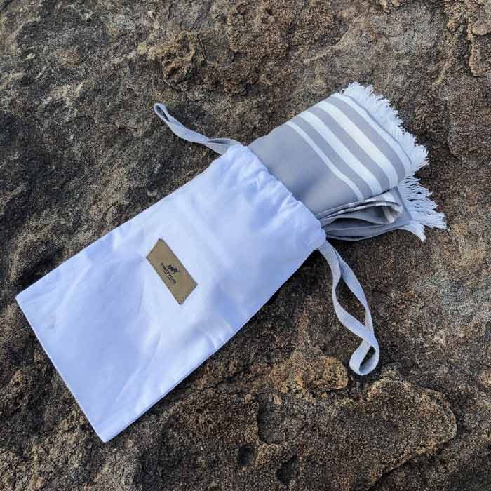 Grey Bamboo Yoga Towel with Cotton Drawstring Pouch