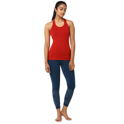 Girl in Organic Cotton and Lycra Printed Teal Tights with Red racer Back Tank