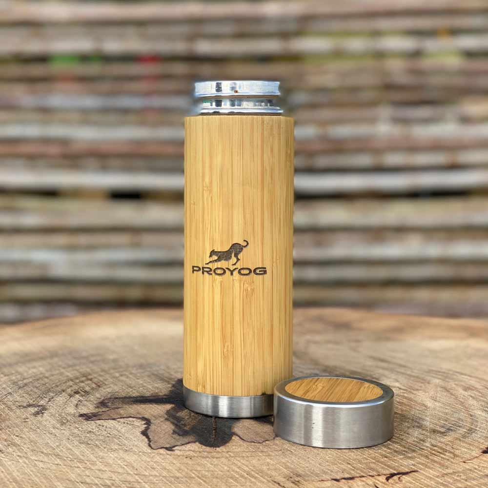Bamboo and Steel Bottle with Proyog Logo