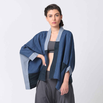 Navy Kimono Style Patchwork Jacket with Pockets