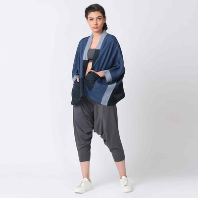 Girl Navy Kimono Style Patchwork Jacket with Grey Harem Pants