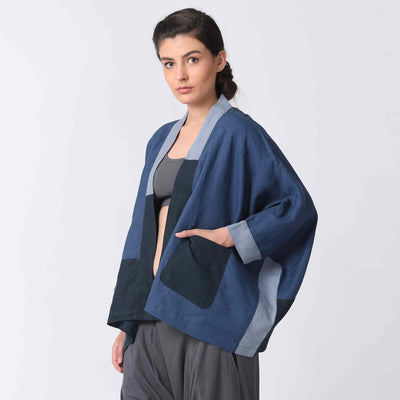 Navy Kimono Style Patchwork Jacket with Hand in Pocket