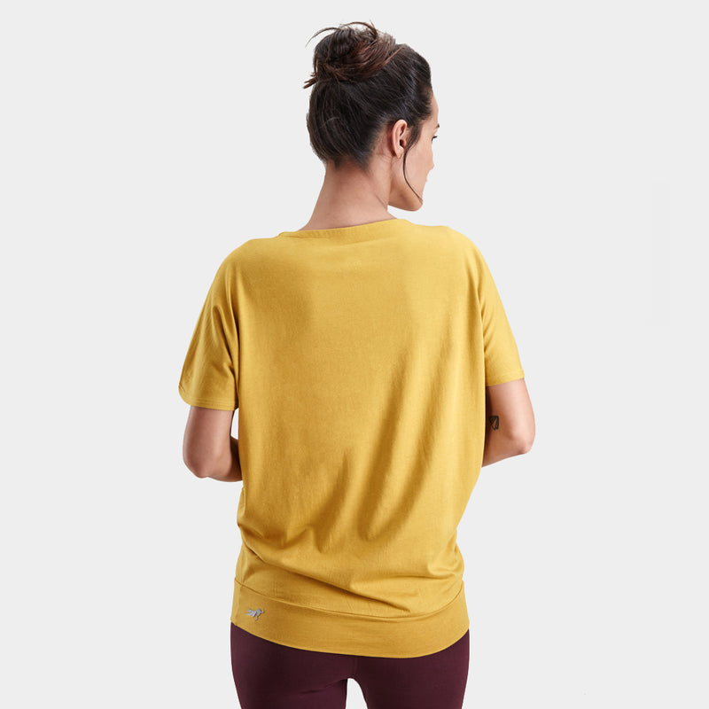 Proyog yoga top cotton modal mustard front