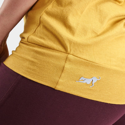 Proyog yoga top cotton modal mustard detail