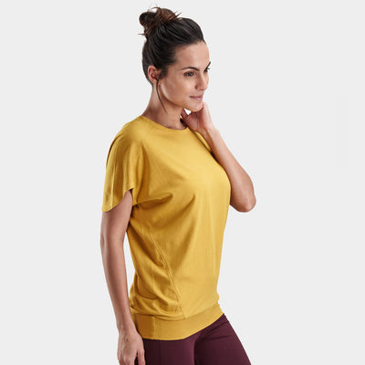 Proyog yoga top cotton modal mustard side