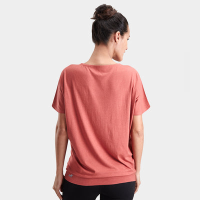 Proyog yoga top cotton modal salmon back
