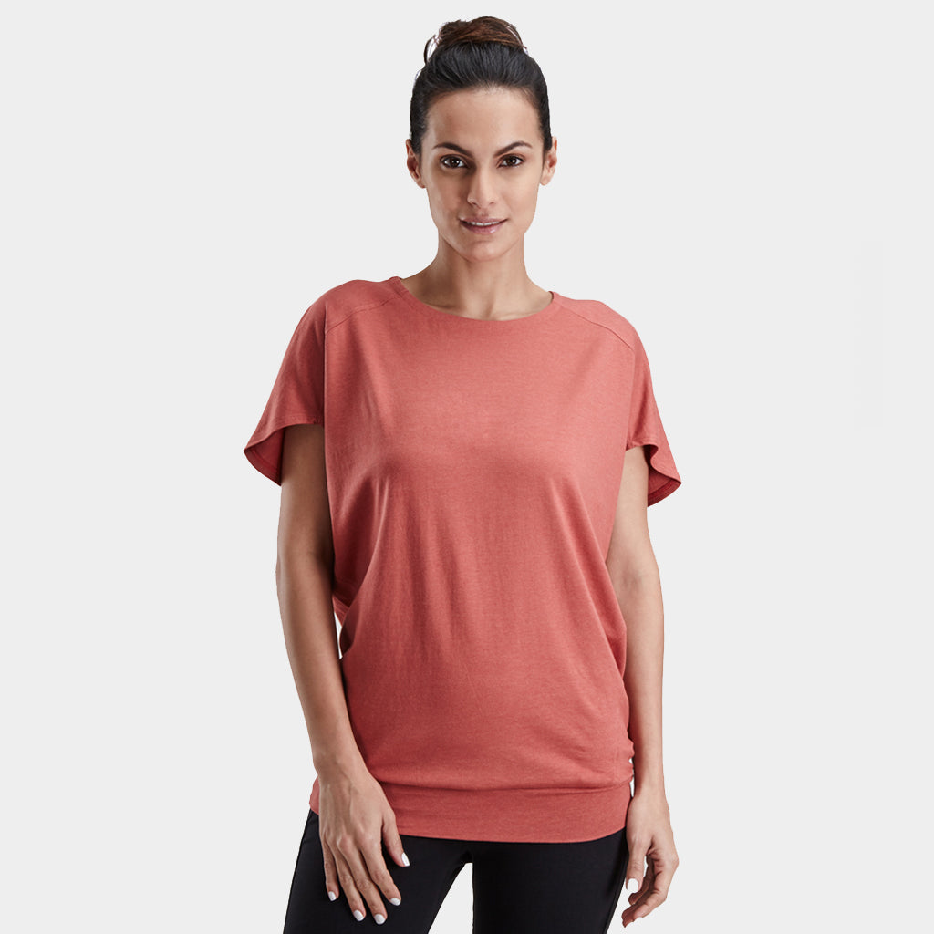 Proyog yoga top cotton modal salmon front