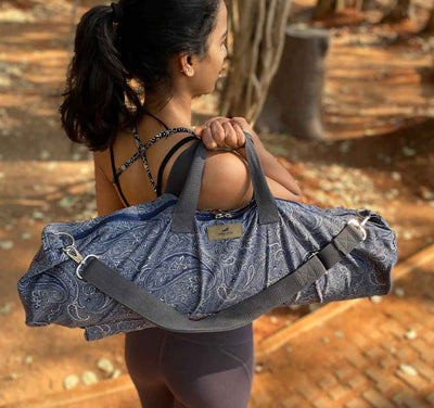 Paisley Print Yoga Mat Bag with Cotton Handle