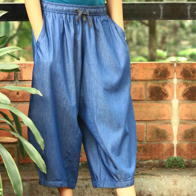 Denim Blend Pants 3/4th: Moksha