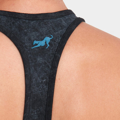 Proyog racer back bra organic cotton black detail