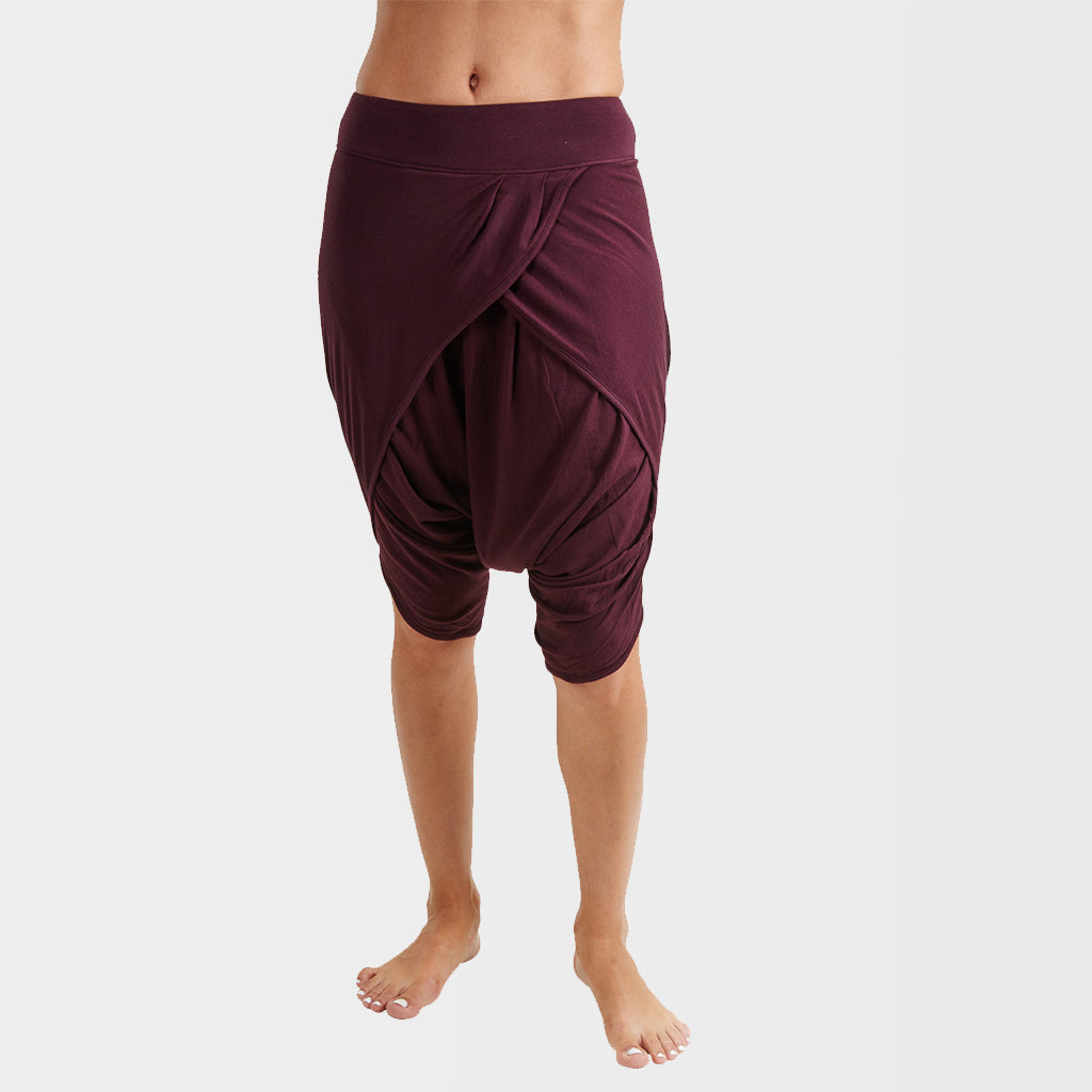 Chandra Yoga Dhoti Shorts: Beetroot