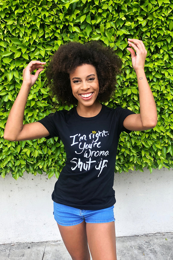 Try Guys: Black 'Shut Up' Women's Fitted Tee
