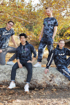 Try Guys: Spiral Black Acid Wash Tie Dye Sweatpants