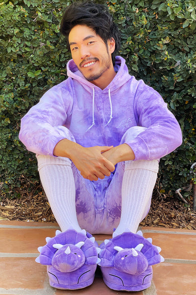 Try Guys: Purple Tryceratops Plushie Slippers