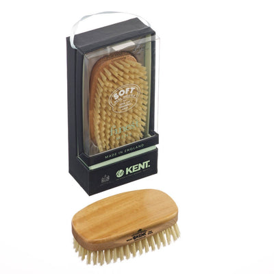 Kent Rectangular Satinwood Soft White Bristle Brush - MS23D