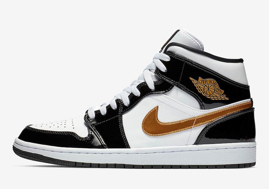 Air Jordan 1 Mid 'Black/Gold' Patent Leather