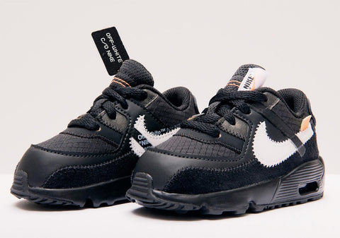 Off-White x Nike Air Max 90 'Desert Ore' & 'Black' Kids Toddler