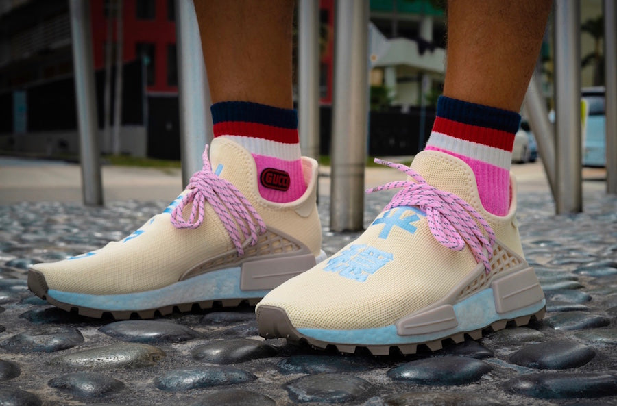 8dec9699b On Foot Look at Pharrell Williams x Adidas NMD HU  N.E.R.D. - Cream ...
