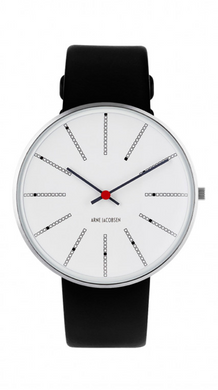 ARNE JACOBSEN WATCH Bankers 40mm, White Dial, Black strap