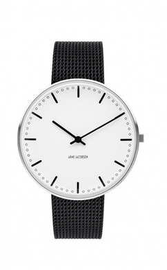 ARNE JACOBSEN WATCH City Hall 40mm, White Dial, Black strap