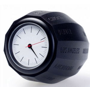 WAALS World Time Clock, injection molded, black, Seiko timepiece, battery included