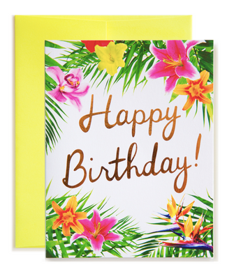 Tropical Floral Happy Birthday! Card