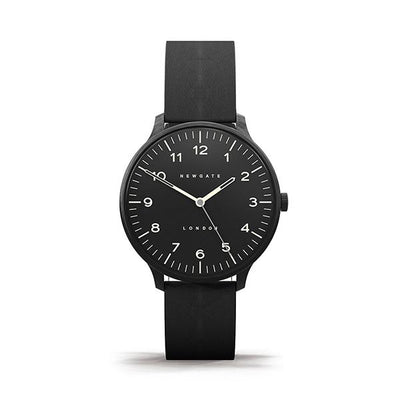 Black-on-Black Leather Watch - Men's Women's - British Design - Newgate Blip WWMBLPBK055LK