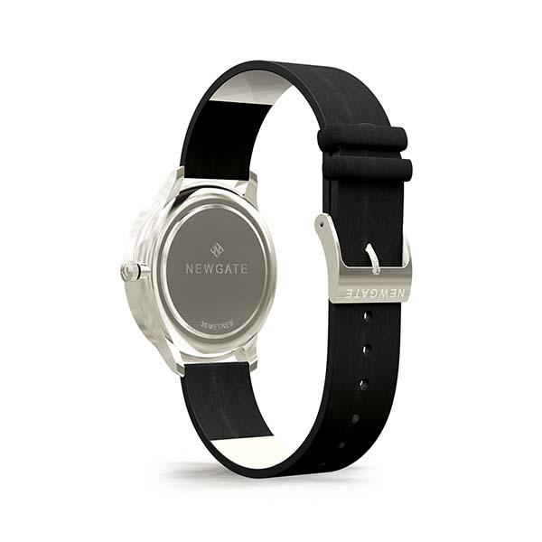 Black Leather Watch - Everyday Casual - Men's Women's - British Design - Newgate Blip WWMBLPVS056NK (back)