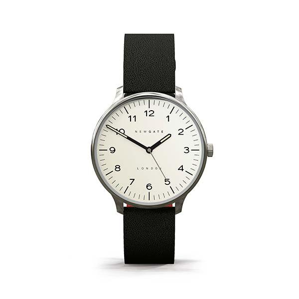 Black Leather Watch - Men's Women's - Everyday Casual - British Design - Newgate Blip WWMBLPVS026LK (front)