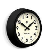 Black Station Wall Clock - Retro Mid-Century - Newgate Electric GWL12MK (skew)