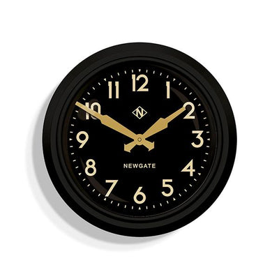 Black Station Wall Clock - Retro Mid-Century - Newgate Electric GWL15MK